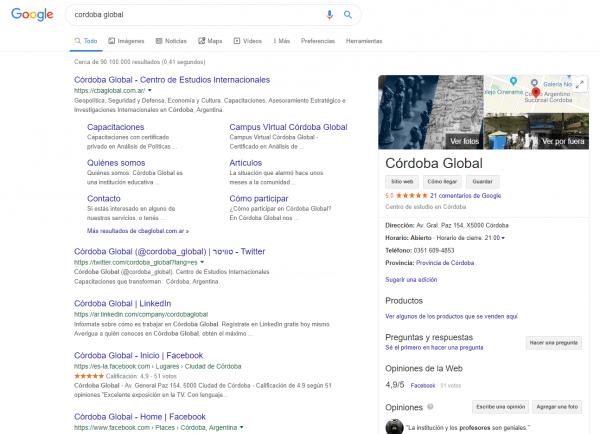 Ficha de Google Mi Negocio en buscador